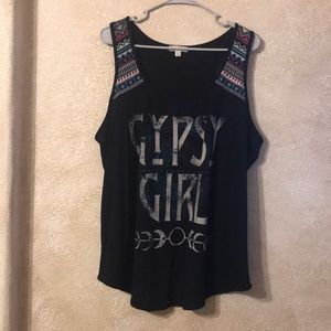 Gypsy Girl black embroidered tank tops